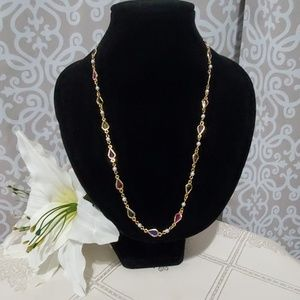 Multicolored Gold Chain Linked Necklace